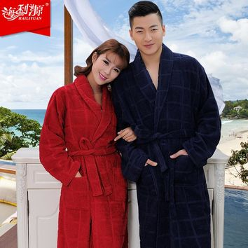 Top Brand 100% terry cotton dark color bathrobes thickening robe comfortable home robe