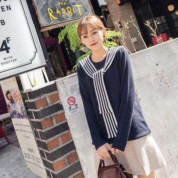 Winter New Style Preppies Look Stripe Pattern Scarf Round Neck Long Sleeve Jumper Women Pullover Knitted Sweater