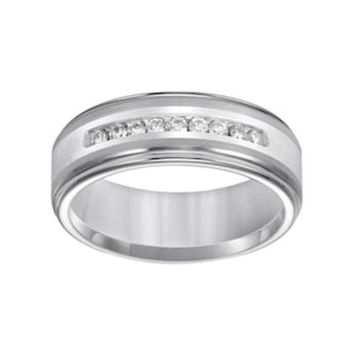 Lovemark Tungsten And Sterling Silver 1/4 Ct. T.w. Diamond Men's Wedding Band | Null