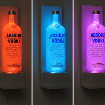 Absolut Vodka Wall Mount Sconce Bottle Lamp Color Changing LED Remote Control Eco Friendly Bar Light Bodacious Bottles-