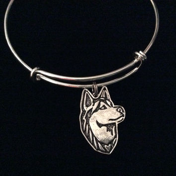 Husky Dog Silver Expandable Charm Bracelet Adjustable Bangle Meaningful Dog Lover Gift