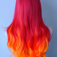Halloween Special // Red / Orange hair Ombre wig. Long hair Long bangs Durable Heat resistant wig for Cosplay or Daily use