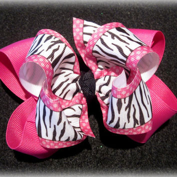 Pink Zebra Fabulous Double Layered Boutique Lush Hair Bow with Spikey Edges for Baby Toddler or Little Girl
