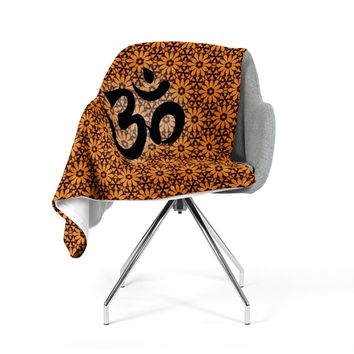 "KESS Original ""Om Orange"" Black Orange Fleece Throw Blanket"