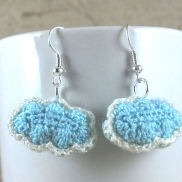 Mini Blue Crochet Cloud Earrings