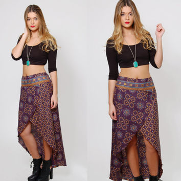 Vintage 90s ETHNIC Skirt HIGH LOW Skirt Front Slit Skirt Boho Printed Skirt Festival Maxi Skirt Gypsy Skirt