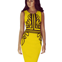 Dropshipping New Vintage Sheath Sleeveless O-Neck Knee-Length Wear to Work Party Bodycon Pencil Dress