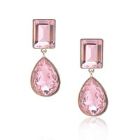 Pink Crystal Dangle Clip on Earrings