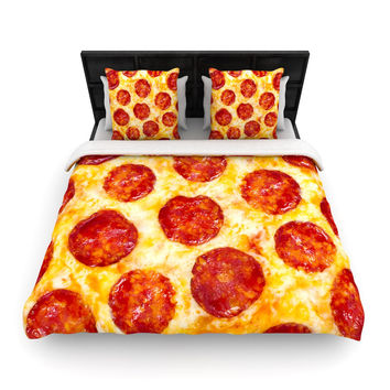 "KESS Original ""Pizza My Heart"" Pepperoni Cheese Woven Duvet Cover"