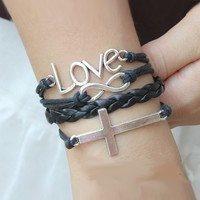 Ladies Handmade Braided Leather with Love Cross and Infinity Charm in Black
