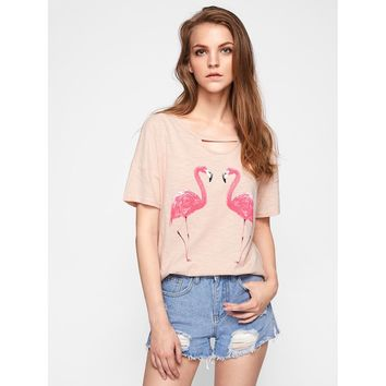 Cutout Neck Slub Flamingo Tee