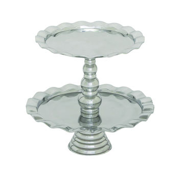 Stainless Steel Two Tiers Cupcake Stand Designed With Curved Edges