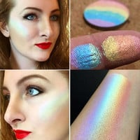 Unique Rainbow Highlighter Face Brightener Contouring Palette Makeup Kit