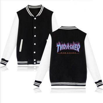 PEAPUF3 Thrasher flame special large size tide coat plus cashmere couple baseball clothing Blue letters