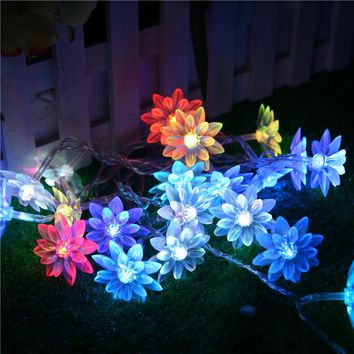 110V 220V 5m 20 Bulbs fairy LED String lights garland Lotus christmas Lights outdoor new year wedding luminaria decoration light