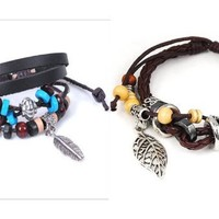 niceEshop(TM) 2Pcs Pack- Brown Bohemian Vintage Style Feather Beads Leather Bracelet Adjustable Wirstaband + Leaf Pendant Pandora Beads Leather Bracelet