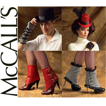 Steampunk Accessories Pattern McCalls M6975 UNCUT Hats Fingerless Gloves Spats Belts Unisex Mens Womens Cosplay Costumes Sewing Patterns