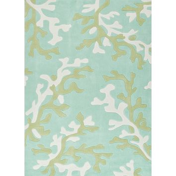 Fusion Coll. Hand-Tufted Coastal Pattern Polyester Blue/Ivory Coral Fixation Area Rug (5 x 7.6)