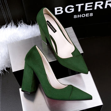 Women Pumps Thick Heel High Heels Shoes  Sexy Female High-heeled Shoes Pointed  Ladies Flock Suede Single Heeled Shoes G317