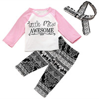 3Pcs/set Toddler Baby Girls Clothes Sets Long Sleeve Letter Printed T-shirt Tops + Pants Headband Baby Kids Outfits
