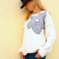 White sweater, hand knitted sweater with with gray flower, M size , womens clothing
