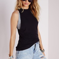 Missguided - Ribbed Dropped Armhole Vest Black