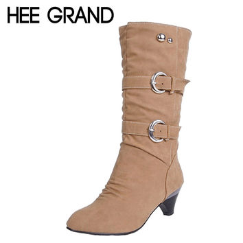 HEE GRAND Low High Heels Women Boots Autumn Buckle Mid-Calf Boots Elegant Ladies Heels Pumps Slip On Platform Shoes Woman XWX931
