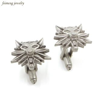 3D Game The Witcher 3 Wild Hunt Wolf Heads Logo Cufflinks For Mens Shirt Brand Cuff Buttons Gothic Maxi Cuff Links Gifts Jewelry