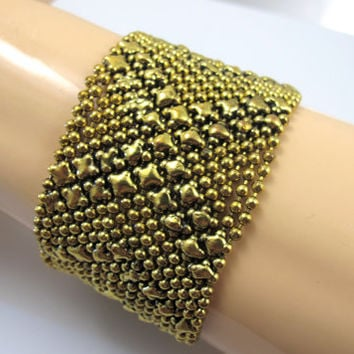 Gold Liquid Silver Bracelet, Sergio Gutierrez Style Gold Liquid Metal Mesh Jewelry, Vintage Wide Gold Ball Bead Chain Cuff Bangle, BoHo Chic