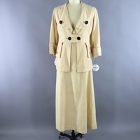 Antique 1900s - 1910s Ivory Wool Walking Dress / Jacket & Skirt Suit / Embroidered Arrows