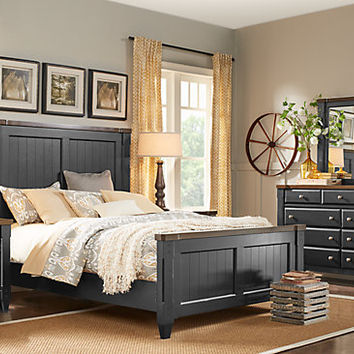 Cottage Town Black 7 Pc Queen Panel Bedroom - Bedroom Sets Colors