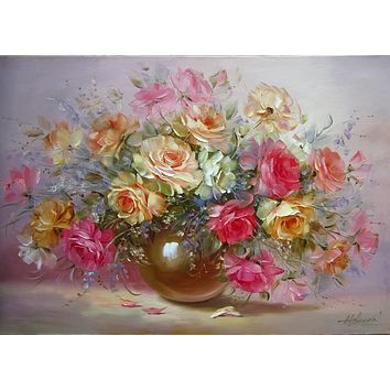 Flower picture DIY digital oil painting quadros home decor wall art arrangement on canvas painting by numbers