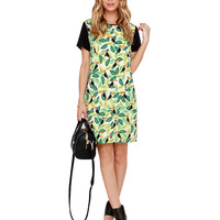 Leaves Print Short Sleeve A-Line Mini Dress