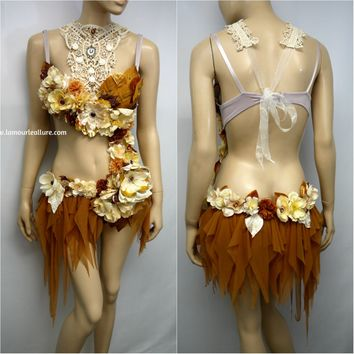 Bronze Copper Victorian Lace Fairy Monokini Bra and Shorts Costume