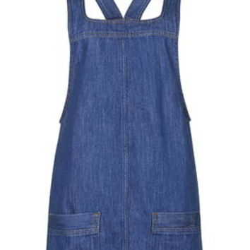 PETITE Blue Denim Pinafore Dress - Mid Stone