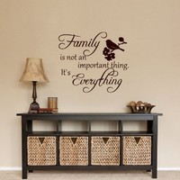 Wall Decals Family Is not an Important Thing Quote Decal Vinyl Sticker Bird Decal Home Decor Bedroom Dorm Living Room MN 103