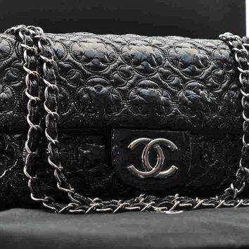 Authentic CHANEL Patent Leather Shoulder Bag Black Silver #S2345