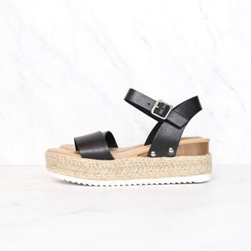 Strappy Espadrille Platform Sandals in Black