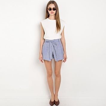 Summer Stripe Shorts Women Loose Casual Short Slim High Waist Button Culotte Lacing