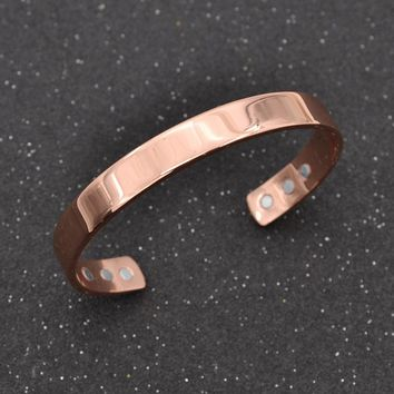 fashion lychee Magnetic Copper Bangle Bracelet Healing Bio Therapy Arthritis Pain Relief Cuff Bangle Women Men Jewelry