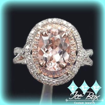 Morganite Engagement Ring 2.5ct Oval 14k White and Rose Gold Two Toned Diamond Halo