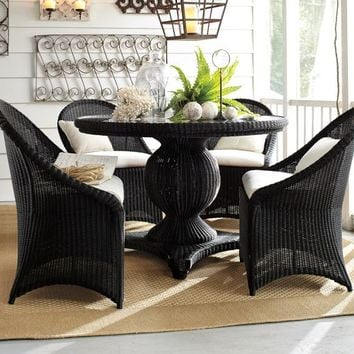 Palmetto All-Weather Wicker Round Pedestal Dining Table & Chair Set - Black