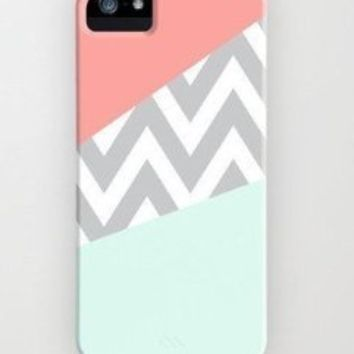 EVERMARKET(TM) Mint & Coral Chevron Hard Case Cover for Apple iPhone 5C (multi)