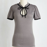 Vintage Inspired Mid-length Short Sleeves Make the Most of It Top in Stone