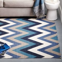 Chevron Cotton Dhurrie Rug - Ink