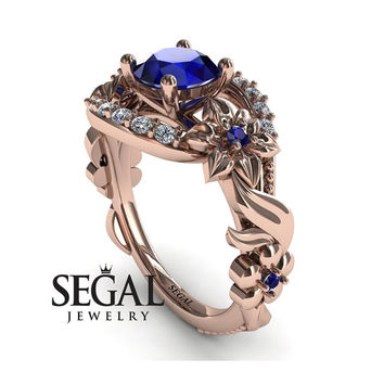 Unique Engagement Ring Diamond ring 14K Red Gold Floral And Leafs Vintage Sapphire With White diamond - Layla