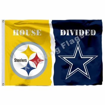 Pittsburgh Steelers Dallas Cowboys House Divided Flag 3ft X 5ft Polyester NFL Team Banner Flying Size No.4 90*150cm Cus