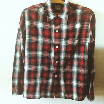 Vintage, 1950s, Ensenada, Flannel, Work Shirt, Mens Medium, Unisex, Hipster, Fashion, Shirt