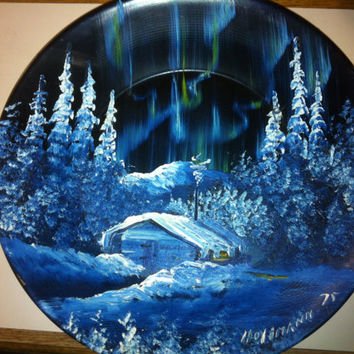 Hand Painted Alaskan Gold Pan with Winter Scene