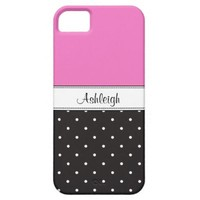 Girly Polka Dots Add your name iPhone 5 case